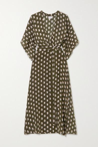 Evarae Modica Printed Silk Crepe De Chine Wrap Dress - Sage green