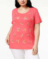 Karen Scott Plus Size Cotton Embroidered T-Shirt, Created for Macy's