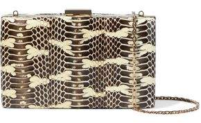Valentino Glossed Snake-effect Leather Box Clutch