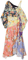 Peter Pilotto Cold-shoulder Wrap-effect Patchwork Printed Crepe Dress - Pastel yellow