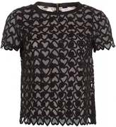 Simona I Blues 'Simona' Black Mesh Hearts and Spots Top