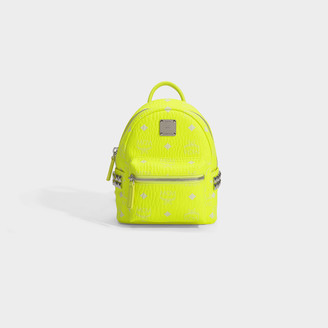 MCM Stark Backpack 20 In Neon Yellow Coated Canvas