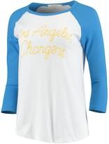 Junk Food Clothing Unbranded Women's White/Powder Blue Los Angeles Chargers Retro Script Raglan 3/4-Sleeve T-Shirt