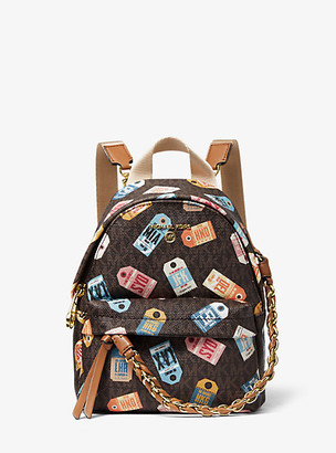 MICHAEL Michael Kors MK Slater Extra-Small Printed Logo Backpack - Brown Multi - Michael Kors