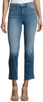 Mother Rascal High-Waist Ankle Fray Jeans, Indigo