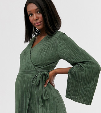 Asos DESIGN Maternity wrap top in plisse with tie side in khaki-Green