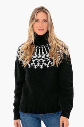 Tory Sport Black Merino Fair Isle Sweater