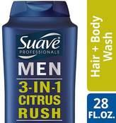 Suave for Men 3 in 1 Shampoo Conditioner and Body Wash Citrus Rush