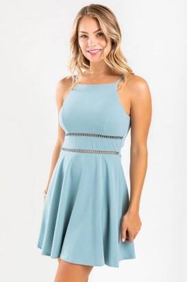 francesca's Kali Ladder Trim Halter Mini Dress - Light Blue