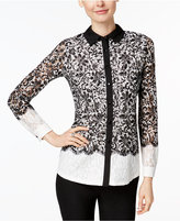Charter Club Petite Colorblocked Lace Shirt, Only at Macy's