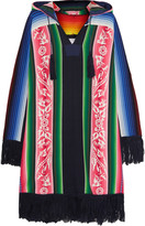 Sacai Fringed printed cotton hooded poncho