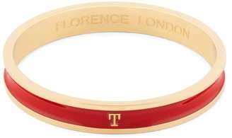 Florence London Initial T Bangle 18Ct Gold Plated With Red Enamel