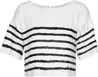 Marissa Webb Deandra Cropped Striped Sequined Tulle Top