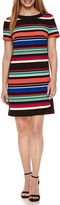 London Times Short Sleeve Stripe Shift Dress-Petites