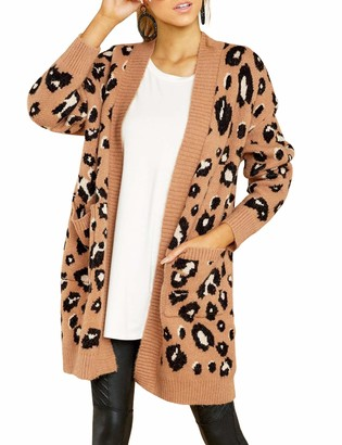 Bonkwa Womens Cardigan Mid-Length Slim Knitwear Drop Shoulder Long Sleeve Open Front Leopard Print Knit Cardigan Sweater with Pockets Autumn and Winter Sweater (T1 XL)