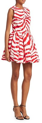 MSGM Zebra Print Fit--Flare Short Dress