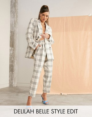 ASOS DESIGN slim suit pants in light based check