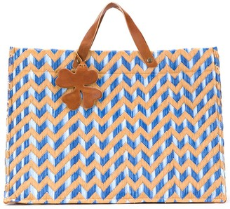 Danielapi Zigzag Patterned Woven Tote Bag