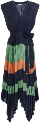 Ulla Johnson Mayshe Asymmetric Pleated Color-block Sateen Midi Dress