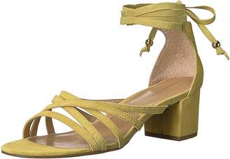 Adrienne Vittadini Footwear Women's Alesia Block Heel Dress Sandal Lemon Zest Kid Suede 9 M US
