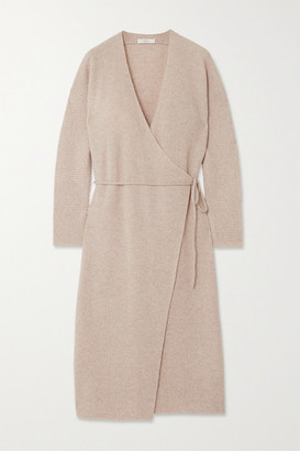 Vince Ribbed Wool And Cashmere-blend Wrap Dress - Stone