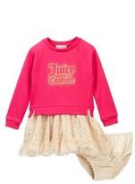 Juicy Couture Heathered French Terry Sweatshirt Glitter Dot Mesh Skirt Dress (Baby Girls)