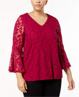 Alfani Plus Size Sheer Burnout Top, Created for Macy's