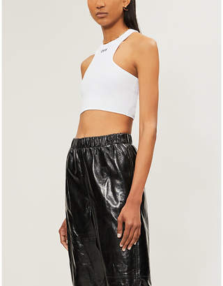Off-White Branded cropped stretch-cotton top