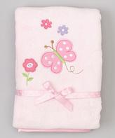 SpaSilk 30'' x 40'' Pink Butterfly Polka Dot Stroller Blanket