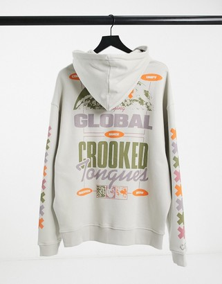 Crooked Tongues hoodie with global back print in silver gray