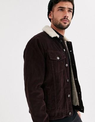 New Look cord fleece lined western in burgundy