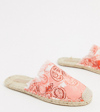 ASOS DESIGN Wide Fit Josie espadrille mules in floral print