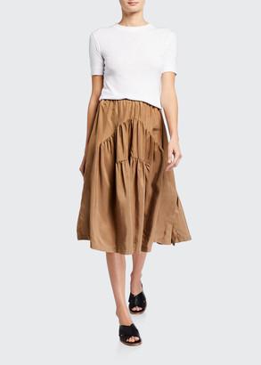 Vince Shirred Panel A-Line Skirt