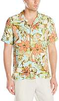 Caribbean Joe Men's Slim Fit Short Sleeve Button Up Floral Rayon Hawaiian Shirt