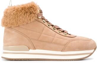 Hogan Fur Ankle Boots