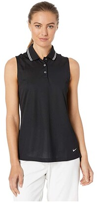 Nike Dry Victory Sleeveless Polo Solid (Black/White/White) Women's Clothing