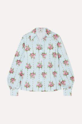 Emilia Wickstead Floral-print Swiss-dot Cotton-blend Seersucker Shirt - Blue