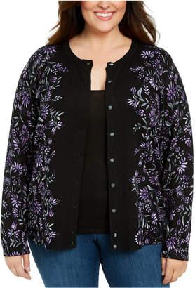Karen Scott Plus Size Printed Button-Front Cardigan