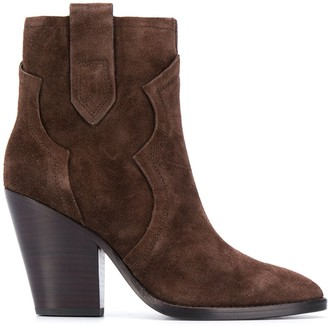 Ash Suede Heeled Ankle Boots