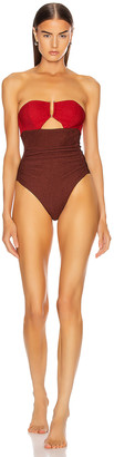 Self-Portrait Bandeau U-Cup Swimsuit in Burgundy & Chocolate | FWRD