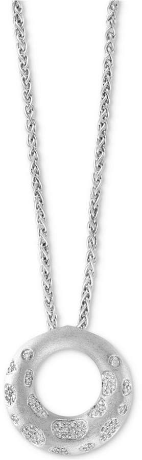 """Effy Diamond Circle Pendant 18"""" Necklace (1/3 ct. t.w.) in Sterling Silver"""