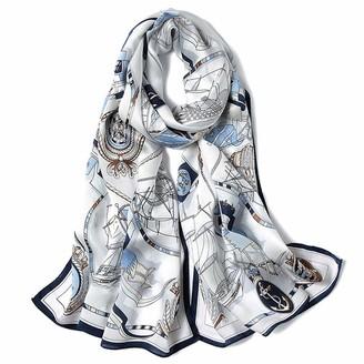 L&SH Scarf Spring and Autumn Silk Scarf Women's European and American Wind Chain Print Silk Scarf