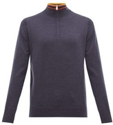 Paul Smith Artist Stripe-collar Half-zip Merino Wool Sweater - Mens - Navy