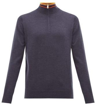 Paul Smith Artist Stripe-collar Half-zip Merino Wool Sweater - Mens - Navy