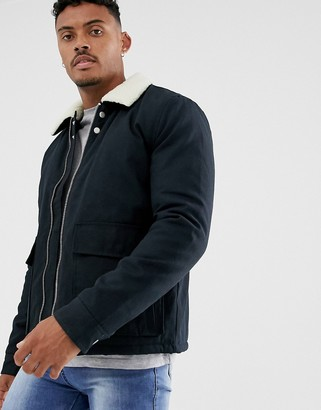 Topman jacket in black with borg collar
