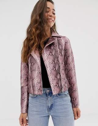 Asos Design DESIGN snake biker jacket-Pink