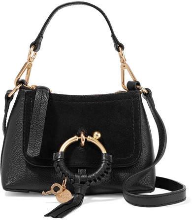 See by Chloe Joan Mini Suede-paneled Textured-leather Shoulder Bag - Black