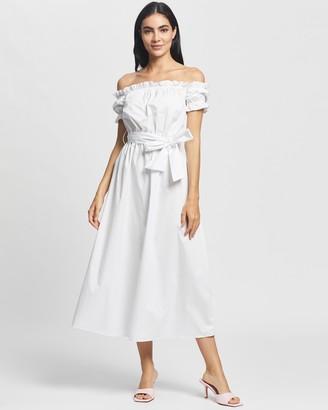 Glamorous Off Shoulder Belted Midi Dress