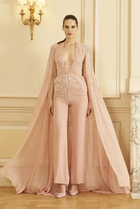 GEORGES HOBEIKA Beaded Georgette Jumpsuit with Cape