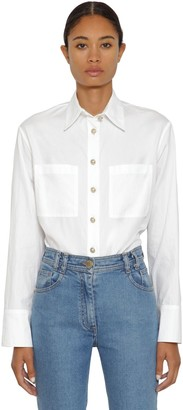 Balmain Cotton Poplin Shirt W/ Gold Buttons